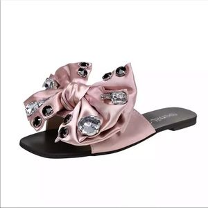 Shoes - Pink big bling bow sandals